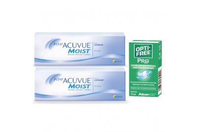 1-Day Acuvue Moist (30 шт), 2 упаковки с каплями Opti-Free PRO (10 мл)