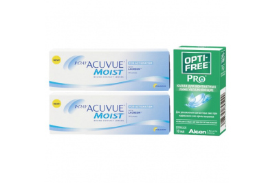 1-DAY ACUVUE MOIST for Astigmatism (30 шт), 2 упаковки с каплями Opti-Free PRO (10 мл)