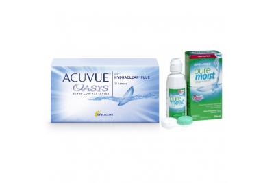 Acuvue OASYS with Hydraclear Plus (12 линз) с раствором Opti-Free Puremoist (300 мл)