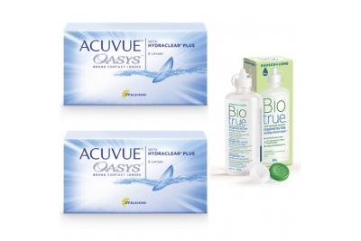 Линзы Acuvue Oasys (6 шт), 2 упаковки с раствором Biotrue (300 мл)