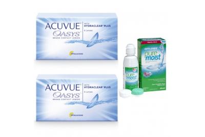 Линзы Acuvue Oasys (6 шт), 2 упаковки с раствором Opti-Free Puremoist (300 мл)