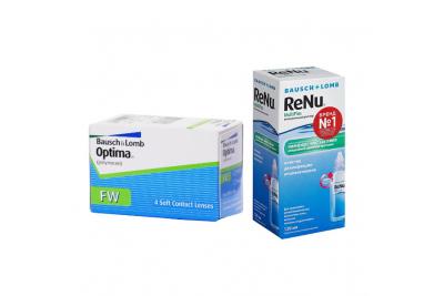 Bausch & Lomb Optima FW (4 линзы) с раствором Renu MultiPlus (120 мл)