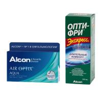 Air Optix Aqua (6 линз) с раствором Opti-Free Express (355 мл)