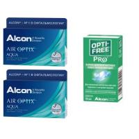 Air Optix Aqua (3 линзы), 2 уп. с каплями Opti-Free PRO (10 мл)