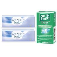 1-Day Acuvue TruEye (30 линз), 2 упаковки с каплями Opti-Free PRO (10 мл)
