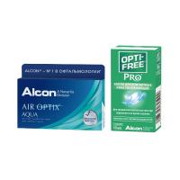 Air Optix Aqua (3 линзы) с каплями Opti-Free PRO (10 мл)