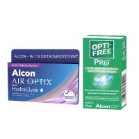 Air Optix plus HydraGlyde Multifocal (3 линзы) с каплями Opti-Free PRO (10 мл)