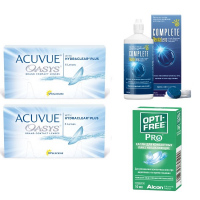 Acuvue OASYS with Hydraclear Plus (6 линз), 2 уп. с каплями Opti-Free PRO и дорожным набором