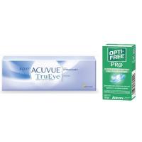 1-Day Acuvue TruEye (30 линз) с каплями Opti-Free PRO (10 мл)