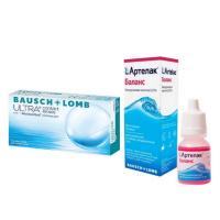 Bausch+Lomb ULTRA (3 линзы) с каплями Артелак Баланс (10 мл)