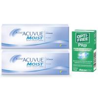 1-Day Acuvue Moist (30 линз), 2 упаковки с каплями Opti-Free PRO (10 мл)