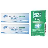 1-Day Acuvue Moist Multifocal (30 линз), 2 уп. с каплями Opti-Free PRO (10 мл)