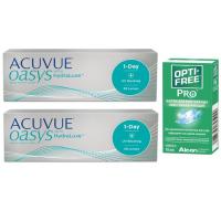Acuvue Oasys 1-Day (30 линз), 2 упаковки с каплями Opti-Free PRO (10 мл)