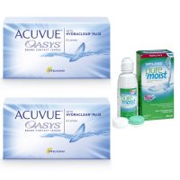 Acuvue OASYS with Hydraclear Plus (6 линз), 2 упаковки с раствором Opti-Free Puremoist (300 мл)